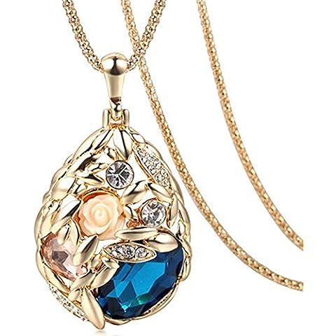 La noche estrellada Champaign Oro Color Drop flor elegante azul collar con colgante de Fashion para mujer niñas invierno