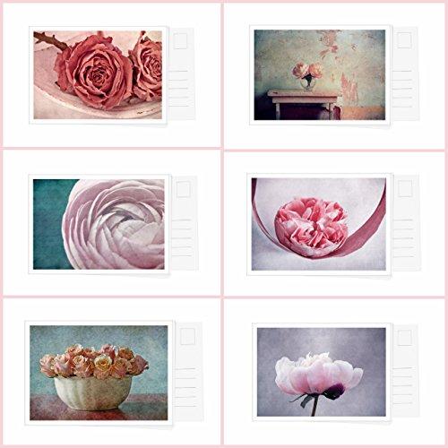 Postkarten Set mit 6 Karten aus Blumen Serie