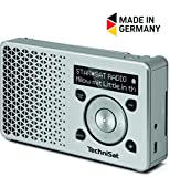 TechniSat Digitradio 1 Digital-Radio Made in Germany (klein, tragbar, mit Lautsprecher, DAB+, UKW, Favoritenspeicher, OLED-Display) silber