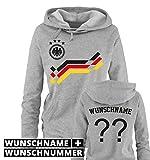 Comedy Shirts EM 2016 - Retro-Trikot - WUNSCHDRUCK - Damen Hoodie - Grau/Schwarz-Rot-Gelb Gr. S