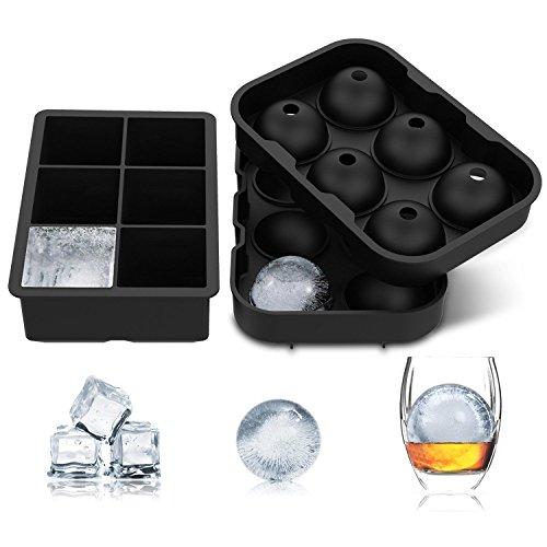 TOOGOO Ice Cube Trays (2 Stueck) Schwarz Silikon 6 Riesen Ice Ball Cube Maker Verwendung fuer Kinder mit Suessigkeiten Pudding Jelly Milk Juice Schokoladenform oder Cocktails Whiskey Particles