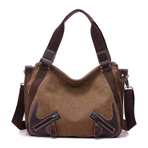 Transer Canvas Handbags & Single Shoulder Bags Women Zipper Bag Girls Hand Bag, Borsa a spalla donna Coffee 32cm(L)*28(H)*15cm(W) Coffee