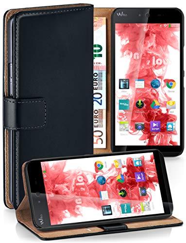 moex Booklet mit Flip Funktion [360 Grad Voll-Schutz] für Wiko Rainbow Jam 4G   Geldfach & Kartenfach + Stand-Funktion & Magnet-Verschluss, Schwarz