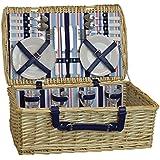 4 Persona de picnic Juego de Cesto. Cesto de mimbre, porcelana platos, cubiertos y copas de vino