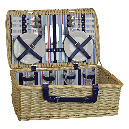 Picknickkorb-Set für 4 Personen. Weidenkorb, Porzellanteller, Besteck und Weingläser (Rustikale Koffer)
