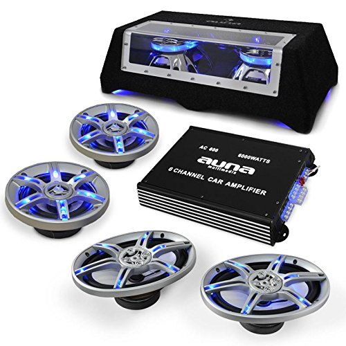 Car-HiFi Autoboxen Set BeatPilot FX-412 4 Autolautsprecher mit Doppel-Subwoofer 3200 Watt + 6000W Endstufe (inkl. Kabel-Set, LED-Lichteffekte, 6-Kanal Verstärker)