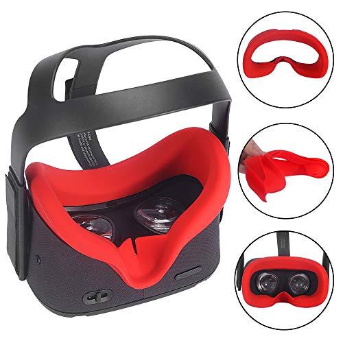 Carplink VR Maske für Oculus Quest VR Gaming Headset Silikon-Schutzhülle Hygiene Gesichtsmaske VR Masken VR Face Cover Augenmaske für Oculus Quest Rot