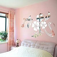 3D Miroir Stickers muraux, Yogogo Miroir 3D Vinyle amovible  Autocollant de mur de fleur Décalcomanies Accueil Décor Art Bricolage (Argent)