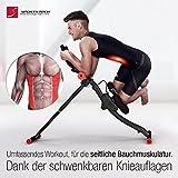 TESTSIEGER Sportstech BT300 Profi Bauchtrainer mit schwenkbarer Knieauflage für seitliche Bauchmuskeln, S-Form Schiene, 25 Einstellmöglichkeiten + Widerstandsbänder inkl. AB Shape Trainer für Sixpack -