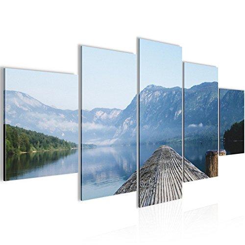 Bild 100 x 50 cm - Steg Bilder- Vlies Leinwand - Deko für Wohnzimmer -Wandbild - XXL 5 Teilig Teile - leichtes Aufhängen- 806052a