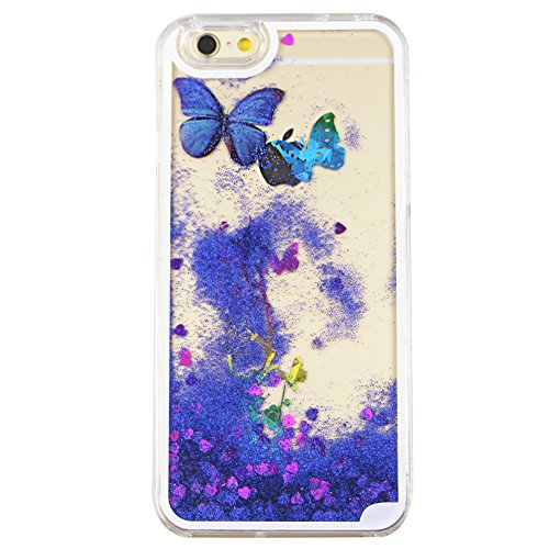 iPhone 6S Plus Hülle Bling,iPhone 6S Plus Hülle Flüssigkeit,iPhone 6 Plus Hülle Glitzer,iPhone 6S Plus Case Transparent,Flüssig Glitzer Case Cover Hülle Tasche Schutzhülle für iPhone 6S Plus,EMAXELERS C Butterfly 7