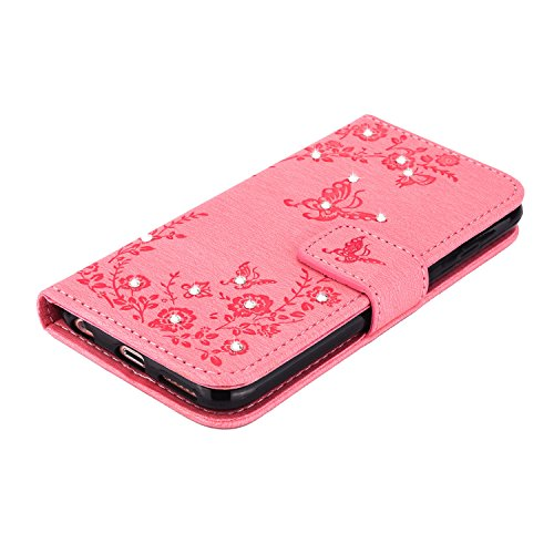 MOONCASE IPhone 6 / 6S Hülle, Premium Leder Schutzhülle [Blumen Schmetterling Serie] PU Leder Flip Handyhülle Tasche Case für iPhone 6 / 6S (4.7 inch) HotRosa Rosa
