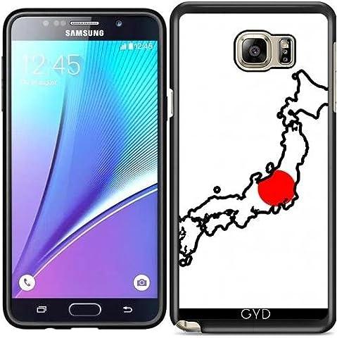Coque Silicone pour Samsung Galaxy Note 5 (SM-N9208) - Japon Carte De Drapeau by Cadellin