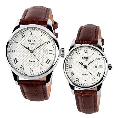 cuir marron hommes frais et les femmes avec le calendrier montres poignet date pour un couple (ensemble de 2)
