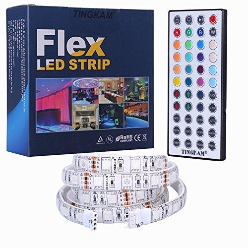 Tingkam® 1m 5050 SMD wasserdichte 60 LED rgb streifen strip kit mit 44 Key Ferbedienung und DC 12V Netzteil Trafo