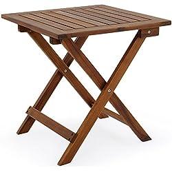 Deuba | Mesa de jardín | madera de acacia aceitada | 46 cm x 46 cm | marrón |