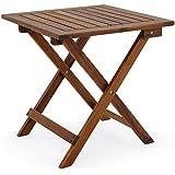 Mesa de jardín de madera de acacia aceitada 46 cm x 46 cm marrón