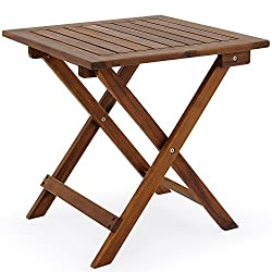 Deuba Small Coffee Table Wood 46 x 46 cm Folding and Light Square Side Bistro for Patio Garden Living Room Outdoor Top