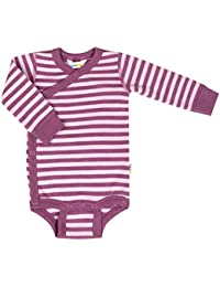 d655195772f3e Joha Baby Preemies Girls Long Sleeved Wrap Bodysuit Sz. 40-44 (Premature)  Double Stripe Made out of Merino Wool in…