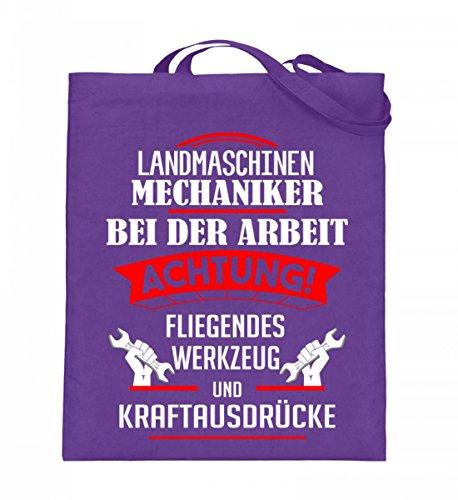Hochwertiger Jutebeutel (mit langen Henkeln) - Landmaschinen Shirt · Geschenkidee für Landwirte/Landmaschinenmechaniker · aufgedrucktes Motiv/Spruch Violet