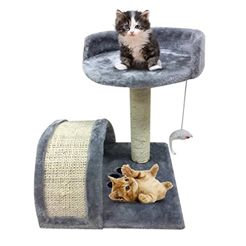 Blackpoolal Kratzbaum Klein Katzenbaum Kletterbaum für Katzen Sisal und Plüsch Verkleidung Katzenmöbel Alternative zu Kratzsäule Kratztonne Katzenturm Katzentreppe 40cm Grau