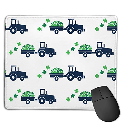 Tractors with Shamrocks St Patrick's Day Clovers Computers Thick Keyboard Non-Slip Rubber Base Mouse pad Mat 7 X 8.6 inch