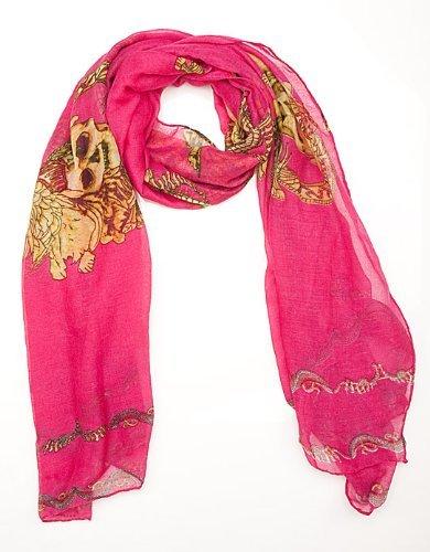 Grand foulard chèche écharpe crânes imprimer - 4 COULEURS Rose Chaud