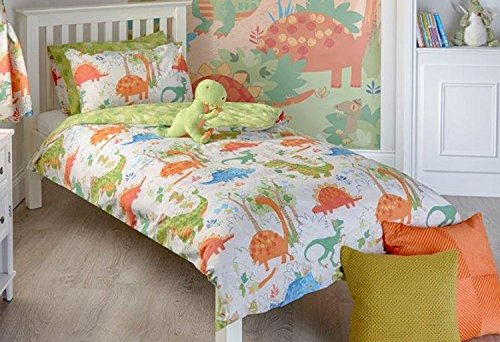 Set piumone per bambini con motivo dinosauri, set copripiumino per letto singolo, matrimoniale e coppia di tende & wall art