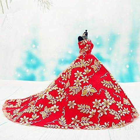 Youvinson Verschiedene Handmade Brautkleider und Kleider für Barbie-Puppen (Golden und Rot)