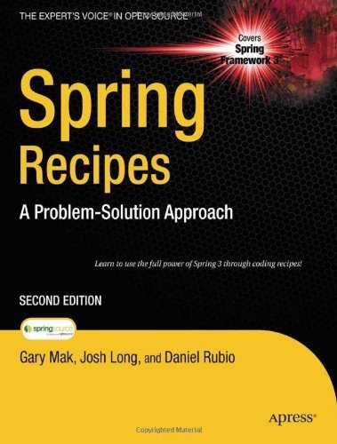 Spring Recipes: A Problem-Solution Approach (Expert's Voice in Open Source) 2nd by Mak, Gary, Rubio, Daniel, Long, Josh (2010) Paperback