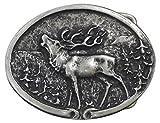 Fronhofer Hirsch Gürtelschnalle Buckle 40 mm, 4 cm Trachten Hirsch Jäger Gürtelschnalle, silber Schnalle, oval, 18039, Farbe:Silber, Größe:One Size