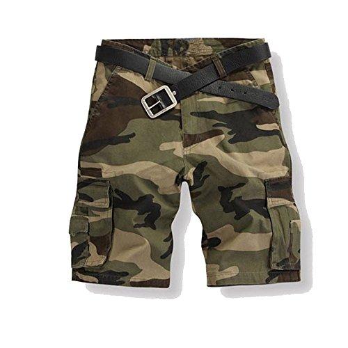 Just No Logo Herren Cargo Shorts kurze Hosen Camo Bermuda Bundhose, Grün,L/36 (Shorts Camouflage Baumwolle)
