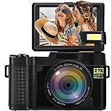 Digitalkamera Fotoapparat Digitalkamera 24 MP Full HD 2,7 K 25 FPS YouTube Kamera mit einziehbarer Taschenlampe und 3,0 Zoll Flip Screen Kompaktkamera