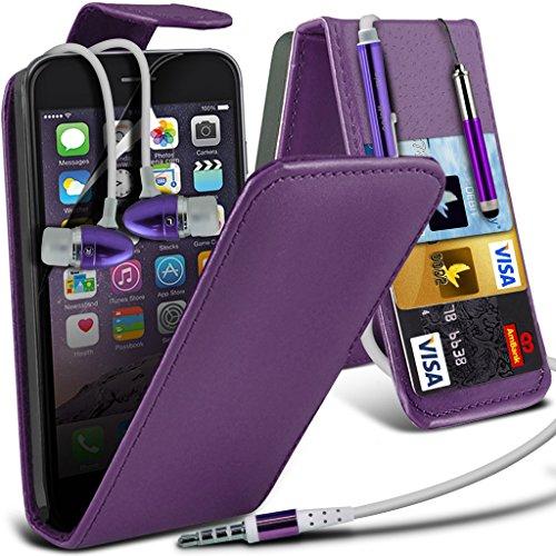Aventus ( Red ) Apple iPhone 6S Case Custom Made magnétique Housse en cuir flip Avec la couverture de peau Card Slot Case + Film de protection écran avec Chiffon, écran tactile Stylet & aluminium haut Leather Flip + Earphone ( Purple )