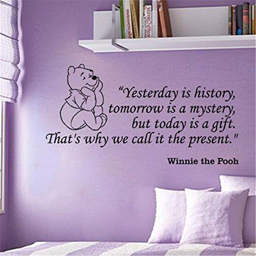 Winnie The Pooh gestern ist Geschichte morgen ist ein Rätsel, aber heute ist ein Geschenk für Kinderzimmer Wandtattoo Wohnzimmer