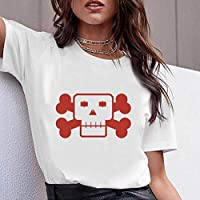 LuoMei Camiseta Estampada Blanca Jersey de Manga Corta con Cuello en o para Mujer Camiseta de Algodón Puro para MujerComo se muestra, m