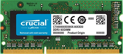 Crucial CT51264BF186DJ Memoria da 4 GB (DDR3L, 1866 MT/s, PC3-14900, Single Rank, SODIMM, 204-Pin)