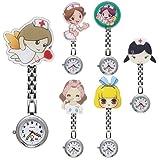 JSDDE Uhren 6x Krankenschwester FOB-Uhr Pflegeruhr Cartoon Mädchen Schwesternuhr Taschenuhr Quarzuhr Uhren Set