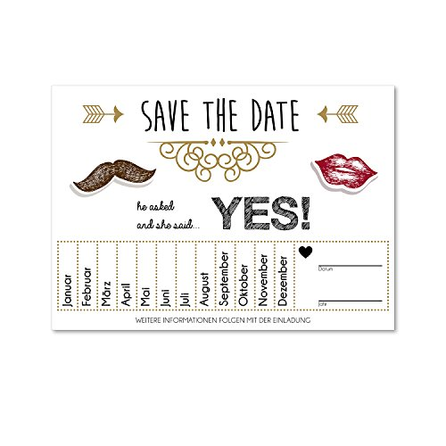 15 Postkarten Save the Date I dv_156 I DIN A6 I Set Hochzeit Wedding Einladungs-Karten Countdown (The Date Save Hochzeit)