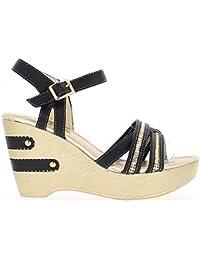 Sandales compensées noires à talon de 10cm et plateau