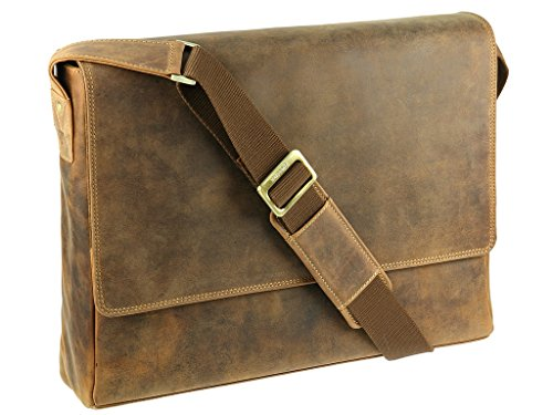 Visconti Jäger Kollektion Distressed echt Leder Laptop Messenger Umhängetasche–Texas 18516 Oil Tan