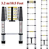 Plantex Telescoping Aluminium Extension Portable Foldable Ladder with EN131 Certified (3.2 m/10.5 ft, Silver)