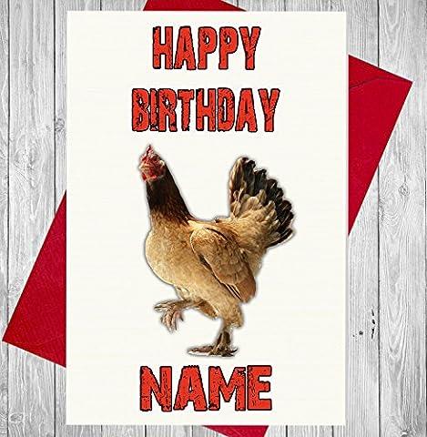 Huhn Personalisierte Geburtstagskarte–Jeder Name und Alter Druck auf der Vorderseite
