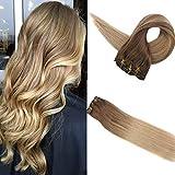 Easyouth Klipp in Haarverlängerung 14 Zoll 100g 10 Stück Pro Paket Farbe 10 Bis 16 Verblassen Clip in Hair Extensions Clip in Extensions Straight