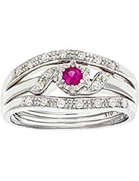 Naava Women's 9 ct White Gold Diamond and Pink Sapphire Ring