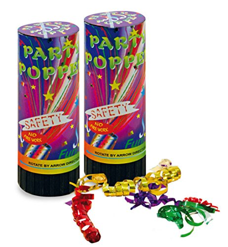 Party Popper 2er Set Konfetti Kanone Shooter Konfettishooter 12 cm Silvester Party Feier Accessoires