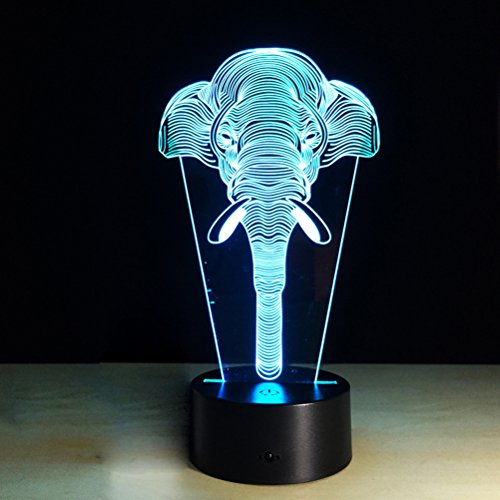 3D LED Noche Luz Elefante Cartoon Lámpara 7 Cambio de Color Optical...