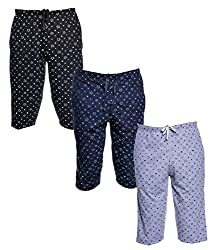 Vimal Multicolor Cotton Blended Capris For Men(Pack Of 3)
