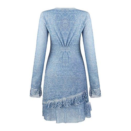Clasichic Damen Hauskleid Spitzenkleid Partykleid Cocktailkleid Abendkleid Langarm Kleider mit V-Ausschnitt Knielang Blau