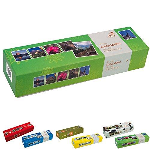 ebos Memospiel ✓ 36 Bildpaare | Motive ✓ 72-teilig ✓ Gedächtnisspiel | Kartenspiel | Kinder-, Jugendlichen- und Erwachsenen-Spiel (Alpen)